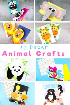 Looking for easy animal crafts for kids to make at home or preschool this summer? Explore our collection of fun and interactive 3D Paper Crafts for kids; featuring paper crafts From Spring to Halloween to Christmas; from land animals to sea animals to bugs, we have a 3D paper craft to keep your children busy all year round. 3D Paper Animals Crafts for Kids | Wild Animal Crafts for Kids | Animal Kids Crafts | 3D Crafts for Kids #AnimalCrafts Paper Animal Crafts, Animal Crafts For Kids, Halloween Crafts For Kids, Craft Projects For Kids, Paper Crafts For Kids, Crafts For Kids To Make, Arts And Crafts Projects, Animals For Kids, Paper Animals