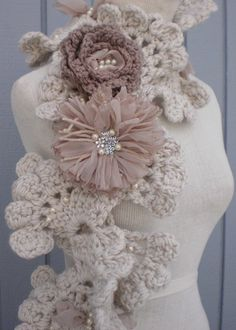 Love the taupe crochet & pearl scarf.