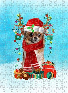 Chihuahua Dog in Snow Jigsaw Puzzle, Christmas, 1000 Pieces Jigsaw Puzzle PrintYmotion #Chihuahua #Dog Lovers gift #Christmas Gift #Christmas Puzzle Lovers Gift, Gift For Lover, Dog Lovers, Christmas Puzzle, Christmas Ornaments, Love Challenge, Snow Dogs, Tin Boxes, Retirement Gifts