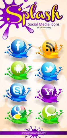 Бесплатные иконки социальных сетей в виде брызг