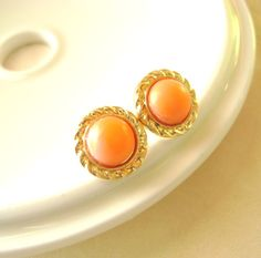 Orange Coral Post Stud earrings Gold Rope by RachellesJewelryBox, $19.00