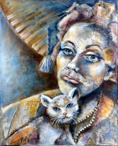 Mercedes and Cat Painting Bobe, Mercedes, Saatchi Art, Latex, Original Paintings, Portrait, Artist, Cat Art, Author