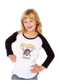 Pitt Pirates Girls White Baseball Long Sleeve T-shirt