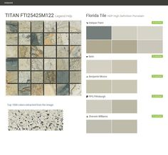 TITAN FTI25425M122. Legend Hdp. HDP High Definition Porcelain. Florida Tile. Valspar Paint. Behr. Benjamin Moore. PPG Pittsburgh. Sherwin Williams.  Click the gray Visit button to see the matching paint names.