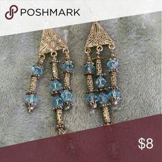 Artisa handmade Long bohemian earrings Handmade long blue and silver bohemian style earrings. Barely used. Jewelry Earrings