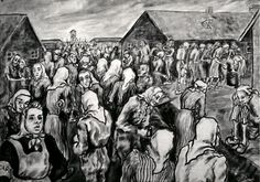 'A Street in the Women's Camp', painting by Janina Tollik  ~  Women in the cold, in the women's camp at Auschwitz II-Birkenau, B1A, probably just before the Appel, or Roll Call.  The only well-fed woman is the CAPO.  Capos were the supervisors who held the power of life or death over their charges.  Many were brutal, even beating inmates to death.  Some others helped the prisoners when they could, though this was difficult and perilous.