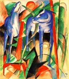 Utopia 1900-1940. Visions d'un monde nouveau - musée de Lakenhal (article complet en suivant le fil) - Expressionnisme / Constructivisme - visuel: Franz Marc - Trois animaux de fable
