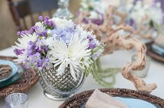 Driftwood and floral centerpieces | Mint and Lavender Beach Wedding Ideas | Style by Design | Sarah Street Photography | Heart Love Weddings