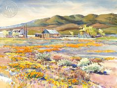 Glen Knowles - California Poppies and Adobe Ranch - California art - fine art print for sale, giclee watercolor print - Californiawatercolor.com