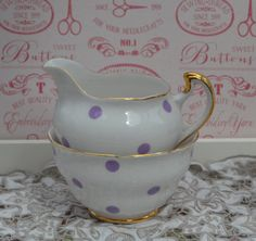 Bone China Milk Jug and Open Sugar Bowl, Vintage English Lilac Polka Dot and Gilt, Very Good Condition by ImagineHowCharming on Etsy