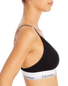 Calvin Klein Modern Cotton Lightly Lined Triangle Bralette - Gray Heather Calvin Klein Black, Robots, Triangle, Bra, Modern, Cotton, Products, Fashion, Moda
