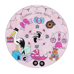 FOR SALE ...Baby Girl Birth Plaque .. Canvas Blockmount 30 x 30 cm Your Baby's own details