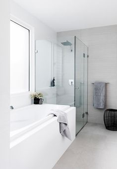 Streamlined simplicity is the order of the day in the guest bathroom. Photo: Maree Homer | Styling: Rebecca Fuge | Story: Australian House & Garden