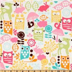 Items similar to Michael Miller Fabric - Forest Life - Watermelon - Children's Animal Print Fabric on Etsy Tissu Michael Miller, Michael Miller Fabric, Fabric Design, Pattern Design, Owl Fabric, Cotton Fabric, Cute Owl, Surface Pattern, Sorbet