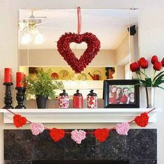 chic valentine s day decoration ideas for fireplace mantel