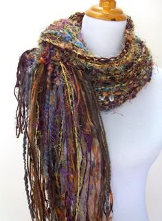 Hand Knit Scarf Rich Gold and Brown Tones Hand Spun Wool by Fanchi, $36.00