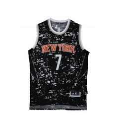 4a46e3ab1 Mens New York Knicks Carmelo Anthony Number 7 Luminous Jersey Black  http   www