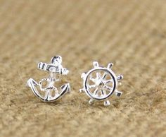 Personality pirate  Sterling Silver Stud Earrings hypoallergenic anchor rudder