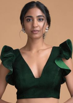 Forest Green Blouse In Velvet With Trapeze Neck And Ruffle Sleeves Online - Kalki Fashion Choli Designs, Saree Blouse Neck Designs, Saree Blouse Patterns, Fancy Blouse Designs, Lehenga Blouse, Latest Blouse Neck Designs, Indian Blouse Designs, Choli Blouse Design, Dress Patterns