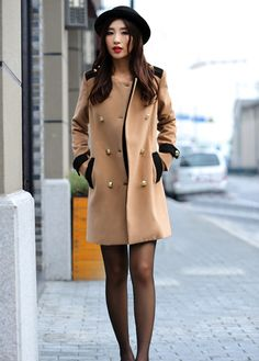 Double Breasted Light Tan Long Coat