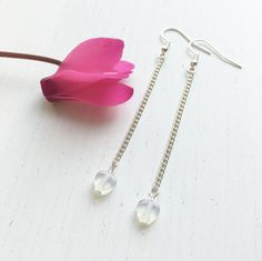 Moonstone Hearts, Moonstone Earrings, Heart Earrings, Moonstone Jewelry, Modern Clip On, Bridal Moonstone, June Birthstone, June Gifts by MadeByMissM on Etsy