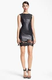 Image result for leather and lace dress
