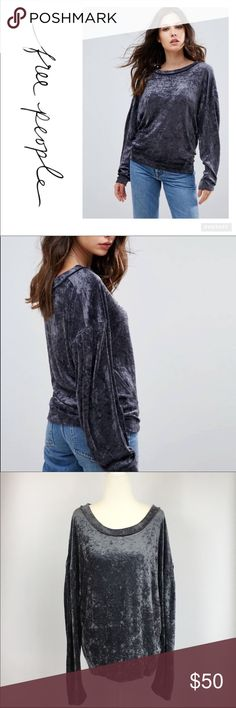Free People Grey Crushed Velvet Sweater Soft-touch velour Scoop neck Dropped shoulders Relaxed fit Color is dark grey Top of shoulder to bottom hem is approx  25 inches, armpit to armpit is approx 21 1/2 inches. Free People Sweaters
