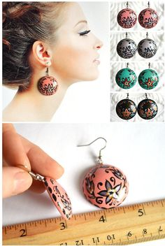 Hey, I found this really awesome Etsy listing at https://www.etsy.com/listing/224816155/earrings-of-wood-with-hand-painted-pink