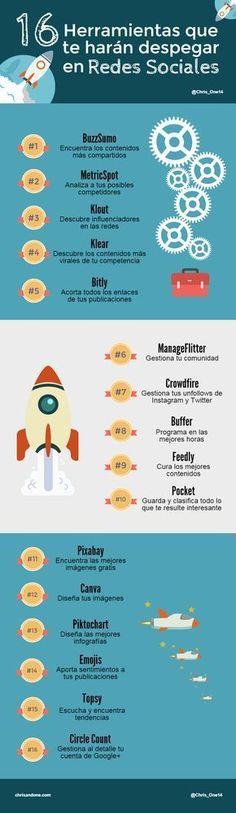 16 herramientas que te harán despegar en Redes Sociales #SocialMedia #RedesSociales #communitymanagerfrases