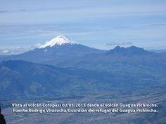 Vista al volcán Cotopaxi 02/05/2015 desde el volcán Guagua Pichincha, Fuente:Rodrigo Viracucha/Guardián del refugio del Guagua Pichincha.