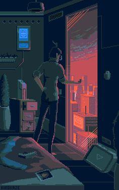 pixel hotel cyberpunk lo fi bit space vaporwave behance animation kirokaze aesthetic background gifs desert welcome digital night wallpapers pixelart