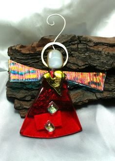 Orange Dichroic Fused Glass Angel w/ Fine by hbjewelrydesign, $16.00