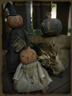Primitive Fall Autumn Pumpkin Girl, Witch, and Scarecrow https://www.facebook.com/Starr-Mountain-Primitives-228548684018/timeline/