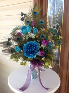 Silk Flower Centerpiece, Peacock Feather Arrangement, Peacock Centerpiece, Peacock Wedding Decorations, Teal and Purple Centerpiece - pinned by pin4etsy.com