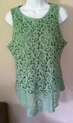 Oioninos women's XL Green lace sleeveless top boho chic assymetrical  #Oioninos #Blouse #EveningOccasion