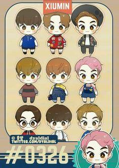 Xiumin fanrt by Dyaldial Boy Cartoon Characters, Exo Fan Art, Kpop Drawings, Baekhyun Chanyeol, Do Kyung Soo, Cute Chibi, Kpop Fanart, Cute Art, Amazing Art