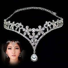 Flower Dangle tiara - $12.99 Pinned for hijabis: wedding hijab jewelry???