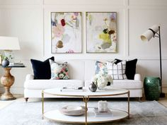 Timeless, neutral pieces meet saturated hues and playful pattens in this chic space.