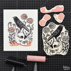 Andrea Lauren (@inkprintrepeat) | Printing these halloween blocks in two colors | Intagme - The Best Instagram Widget