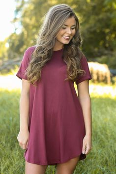 Down To A T-Shirt Dress-Chili Pepper - New Today | The Red Dress Boutique