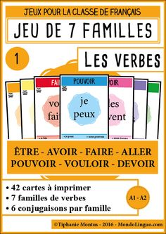 A brilliant way to incorporate learning with play. French Verbs, French Grammar, French Teacher, Teaching French, French Education, Kids Education, French Worksheets, Material Didático, Core French