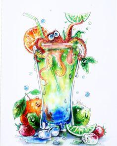 Beach Clipart, Elephant Illustration, Drawing Sketches, Drawings, Kawaii Stickers, Food Drawing, Food Illustrations, Art Tutorials, Illusions