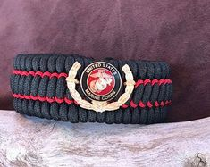 USMC EGA Concho Overlay King Cobra braid Marine   Etsy Usmc Emblem, Marine Corps Emblem, King Cobra, Paracord Bracelets, Marines, Watch Bands, Two By Two, Overlay, Braid