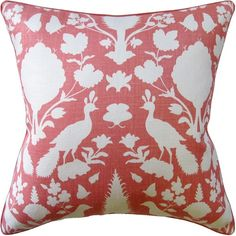 Rust Decorative Pillow with deer head pattern.  Free shipping.