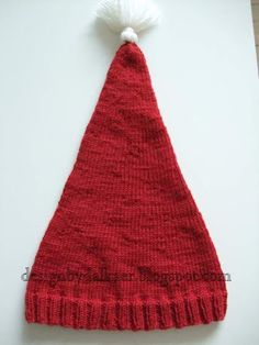 Design by Dalkær: Strikket nissehue til børn Baby Hats Knitting, Christmas Home, Christmas Things, Bandana, Diy And Crafts, Knit Crochet, Textiles, Design, Diys