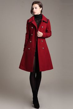 women's Wool clothing  winter Coat Warm RED   by swanstore on Etsy, $79.99