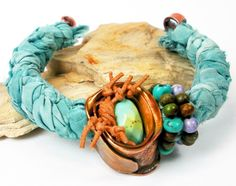Silk and Copper Beaded Cuff-  Rustic Copper Bracelet, Reclaimed Sari Silk, Himalayan and Hubei Turquoise, Size Small- Clear Creek