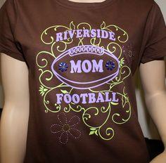 70927381cc6 #FootballMom t-shirt design with flower rhinestones: QAT-4+RS-24 More ideas  at easyprints.com #sportsapparel. Easy Prints · Football Clothing Ideas