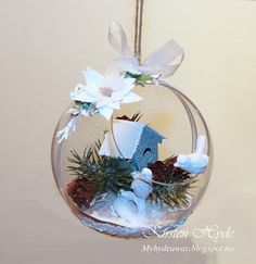 My Craft and Garden Tales: Christmas ornament, created with dies. Christmas Presents, Christmas Bulbs, Christmas Decorations, Holiday Decor, Small Houses, Snow Globes, Closer, Garden, Crafts