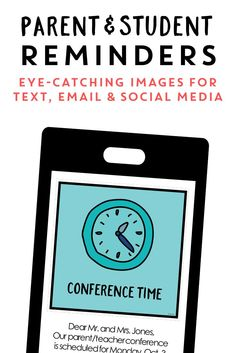 Make parent communication quick and stylish! This parent reminder pack includes a set of colorful digital reminders for email, text, and social media, plus a set of ink-friendly printables. School Resources, Learning Resources, Teacher Resources, Teaching Ideas, Classroom Newsletter Template, Newsletter Templates, Social Media Conference, Parent Teacher Communication, Parent Volunteers
